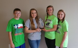 1st place Technical (left to right) Riley Smith, Avery Robinson, Emily Berend, Kim Hauger, (not pictured, Demi Butler)
