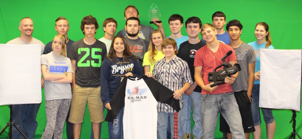 2015 Film Contest - Grand Prize: Bryson Top Row; (left to right) Mr. Stearns, Codie Mcbride, Brayden Houser, Jake Smith, Jake Jonas, Jacob Smith, Katie Sheerin Middle Row; (left to right) Angel Sylva, Josh Jonas, Tim Henderson, Makayla Foyt, Sam Bauchman, Jose Ramos. Bottom Row; (left to right) Britney Sabarzo, Tyler Tanner, Trey Foyt.